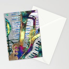 Abstract Music Art Collage - mixed media #1 Stationery Cards
