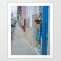 Woman in Blue Dress, Havana Art Print