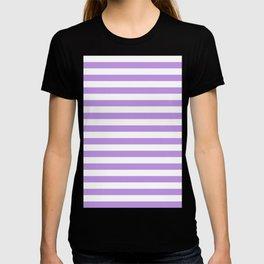 Narrow Horizontal Stripes - White and Light Violet T-shirt