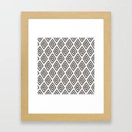 Hand painted black white geometrical diamond polka dots Framed Art Print
