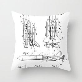 Nasa Space Shuttle Patent - Nasa Shuttle Art - Black And White Throw Pillow