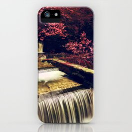 Surreal forest, river flowing in a red autumn looking forest iPhone Case