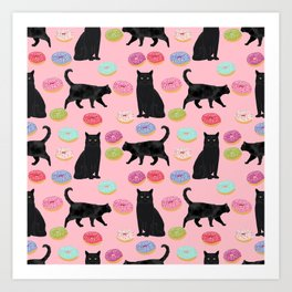 Black cat donuts cat breeds cat lover pattern art print cat lady must have Art Print