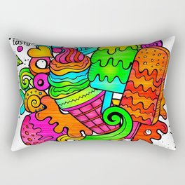Ice Cream Sweets in Rainbow Neon Rectangular Pillow