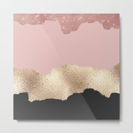 Rose Gold Glitter Black Pink Abstract Girly Art Metal Print