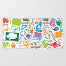 education and school icons background (seamless pattern) Beach Towel