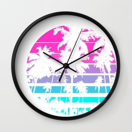 Retro Eighties 80s & 90s Beach Style design with palm trees design Wall Clock