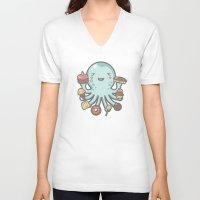 dessert V-neck T-shirts featuring Room for Dessert? by littleclyde