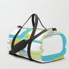 Mid-Century Modern Rectangle Design Blue Green and Gray Duffle Bag