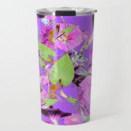 Lilac Purple Dark Morning Glory Vines art Travel Mug
