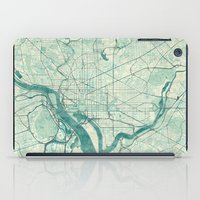 washington iPad Cases featuring Washington Map Blue Vintage by City Art Posters