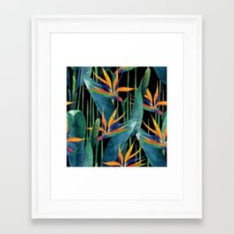 Watercolor Painting Tropical Bird of Paradise Plants large Framed Art Print
