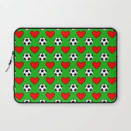 Soccer Balls And Red Hearts Pattern Laptop Sleeve