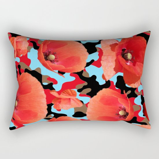 Poppie Camouflage Red Blue -Living Hell Rectangular Pillow
