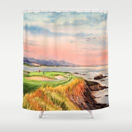 Pebble Beach Golf Course 7th Hole Shower Curtain