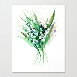 Lilies of the Valley. spring flowers, green white floral art Canvas Print