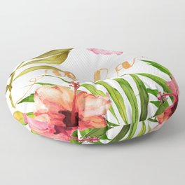 Aloha Watercolor Tropical Hawaiian leaves and flowers Floor Pillow