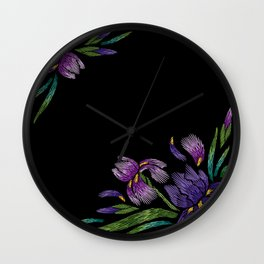 Embroidered Flowers on Black Corner 03 Wall Clock