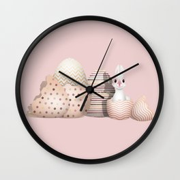 Kawaii Easter Bunny hatching from Golden Colored Easter Eggs - pink background Wall Clock
