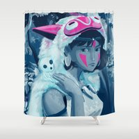 princess mononoke Shower Curtains featuring Princess Mononoke by hollarity