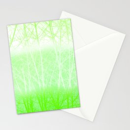 Frosted Winter Branches in Lime Green Stationery Cards