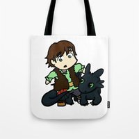 hiccup Tote Bags featuring Chibi Hiccup and Toothless by Gio Garcia