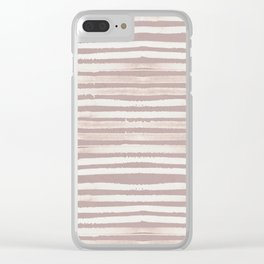 Simply Shibori Stripes Lunar Gray on Clay Pink Clear iPhone Case