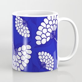 African Floral Motif on Royal Blue Coffee Mug