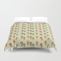 ice cream Duvet Covers featuring Ice Cream by victoria negrin