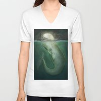 dick V-neck T-shirts featuring Moby Dick by Marilyn Foehrenbach Illustration