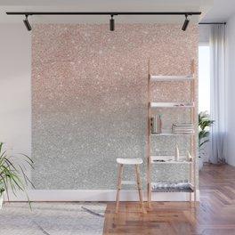 Modern trendy rose gold glitter ombre silver glitter Wall Mural