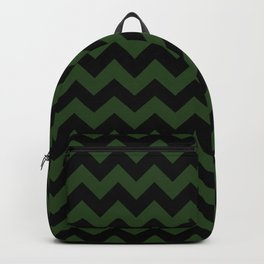 Large Dark Forest Green and Black Chevron Stripe Pattern Backpack