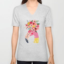 Pink flamingo with flowers on head Unisex V-Neck