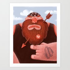 Biker in love Art Print