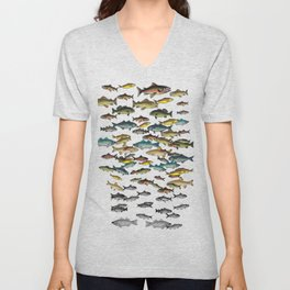 Fish Beach Nautical multicolor and black and white Unisex V-Neck
