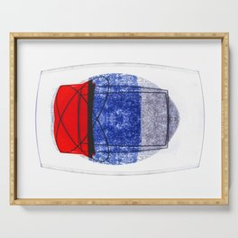 Blue and Red (with elipse and square) Serving Tray