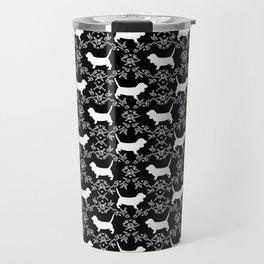 Basset Hound floral silhouette dog pattern minimal black and white pet portraits Travel Mug