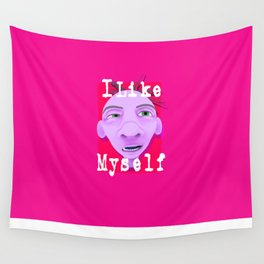 ugly face drawing with text i like myself Wall Tapestry