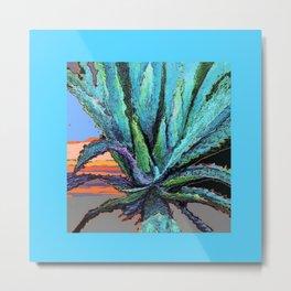 BLUE MODERN ART AQUA DESERT AGAVE CACTUS Metal Print