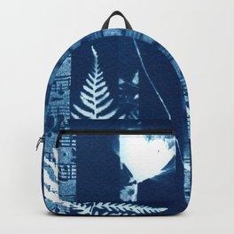 Fragments of the Past (34), art print, collage, blue print, cyanotype print, wall art, wall decor Backpack