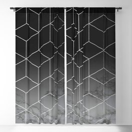 Silver Geometric Cubes Trendy White Grey Marble Blackout Curtain