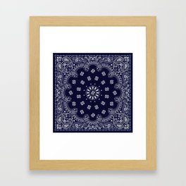 Paisley - Bandana - Navy Blue - Southwestern - Cowboy Framed Art Print
