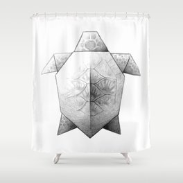 Turtle Origami Shower Curtain