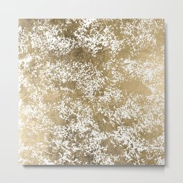Elegant chic faux gold foil paint splatters pattern Metal Print