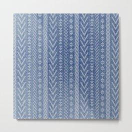 Textured Art, Woven Linen, Blue, Boho Wall Art Metal Print