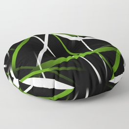Seamless Grass Green and White Stripes on A Black Background Floor Pillow