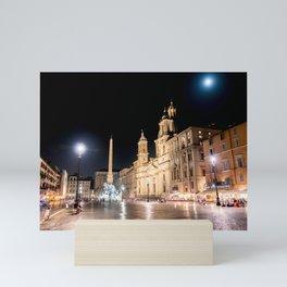 Piazza Navona at night under full moon - Rome, Italy Mini Art Print