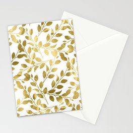 Gold Leaves on White Stationery Cards