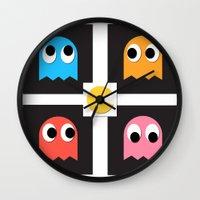 pac man Wall Clocks featuring pac man by pixel.pwn   AK