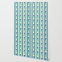 Aqua Lines and Circles Wallpaper